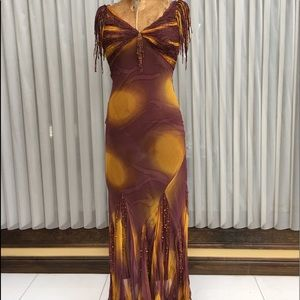Evening long dress colorful size 2